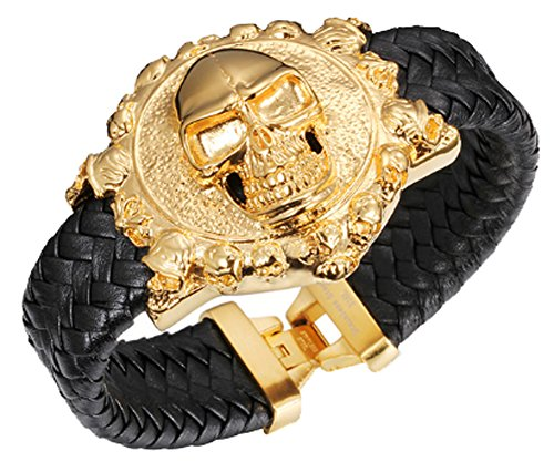 Silver Collection Nike Air (CC-JJ - Cool Skull Men Wrap Bracelet Gold Plated Stainless Steel)