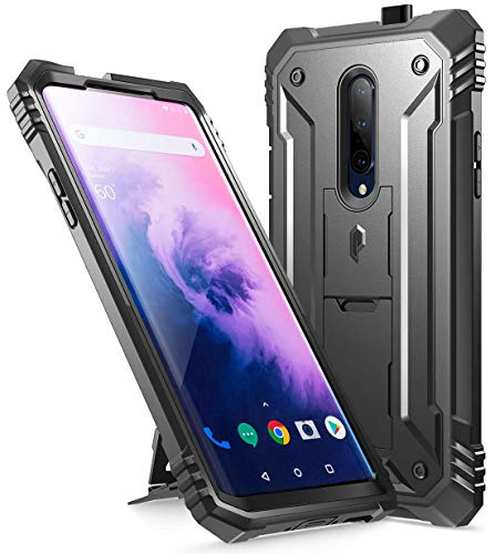 Poetic OnePlus 7 Pro Rugged Case with Kickstand, Full-Body Dual-Layer Shockproof Protective Cover, Built-in-Screen Protector, Revolution Series, Defender case for OnePlus 7 Pro (2019 Release), Black