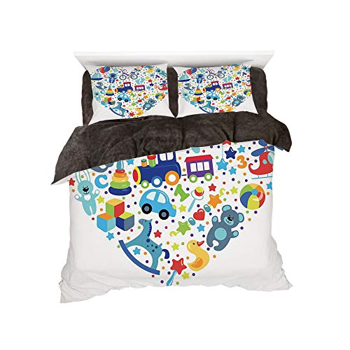 iPrint Flannel Duvet Cover Set 4-Piece Suit Warm Bedding Sets Quilt Cover for Bed Width 5ft Pattern by,Boys Girls Room,Heart Shaped Collage of Toys for Newborn Baby Boy Train Alphabet,Blue Grey ()
