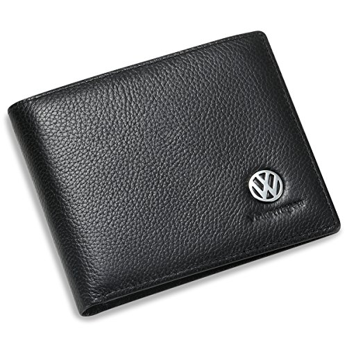 (Volkswagen Bifold Wallet with 3 Card Slots and ID Window - Genuine Leather)