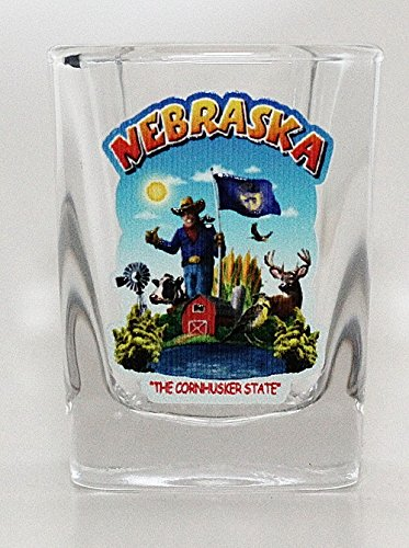 (Nebraska State Montage Square Shot Glass)