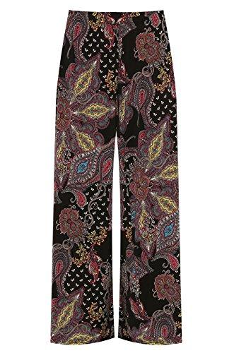 talla Mujer Estampado 21fashion Pantalones Negro para Paisley de qZHZw0E
