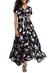 Women's Floral Print Maxi Dresses Boho Button Up Split Beach Party DressMaterial: 100% Rayon It's super comfortable and lightweight.Features: V-Neck, Short Sleeve, A Line Buttons Up Flowy Split, Stretchy waist part, Floral PrintAbout s...
