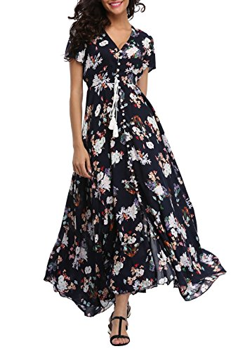 Darling Floral Skirt - VintageClothing Women's Floral Print Maxi Dresses Boho Button Up Split Beach Party Dress,Navy&floral,Small
