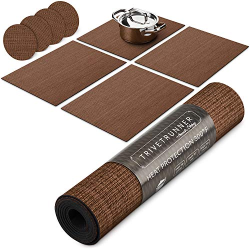 Placemat Pads - Trivetrunner: Decorative Modular Trivet Runner for Table (4 pcs Placemats) Extendable Hot Pad, X-Long Design with Coasters | Heat-Resistant Surface,for Hot Plates, Pots, Dishes,Cookware, Kitchen