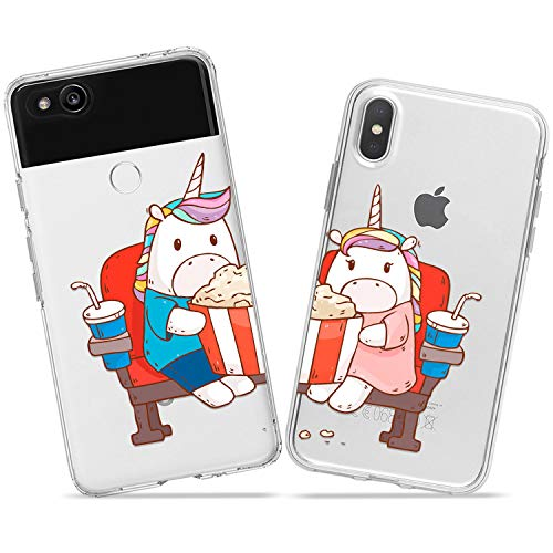 Wonder Wild Unicorn Cinema Case iPhone Xs Max X Xr 10 8 Plus 7 6s 6 SE 5s 5 TPU Clear Gift Apple Phone Cover Print Protective Double Pack Silicone Pop Corn Theater Date Together Relationship Cute