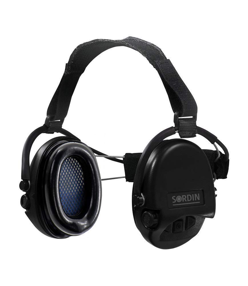 Sordin Supreme PRO Neckband Safety Ear Muffs - Active Hearing Protection - Perfect for Helmets SNR: 25dB - Black - 76302-02