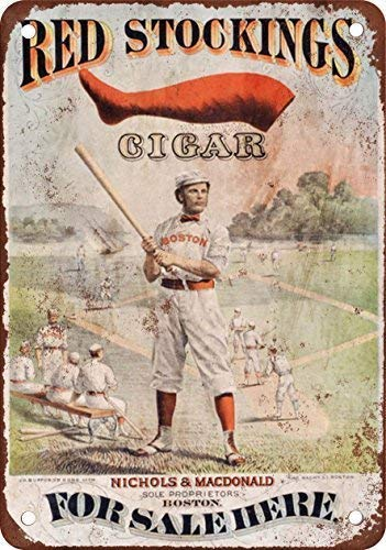 Metal Tin Sign Boston Red Stockings Cigars Vintage Look Reproduction 8x12 Inch Wall Decor ()