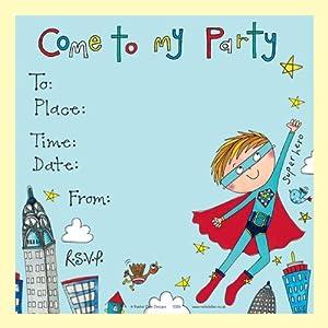 Rachel Ellen Set of 8 Childrens Party Invitations Super Hero