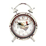 Handcrafted Metal Analog Silent Quartz Desk Clock,8.4''x6.4'',vintage Rustic Look with Handle,Glass on Front (White)