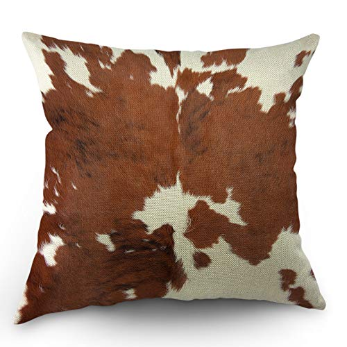 (Moslion Cowhide Pillows Decorative Throw Pillow Cover Case Farm Animal Brown Cowhide Print Cow Pillow Case 18x18 Inch Cotton Linen Square Cushion Cover for Sofa Bedroom)