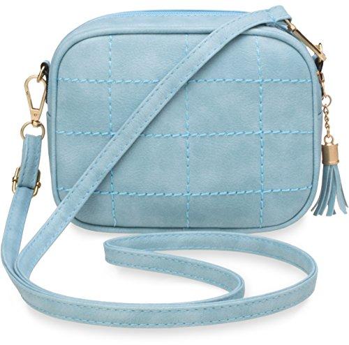 kleine Schultertasche gesteppte Damentasche himmelblau