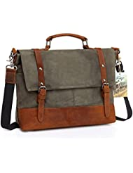 Laptop Messenger Bag, Kasqo Waxed Canvas Leather 15.6 inch Briefcase Shoulder Bag for Men Business Satchel with...