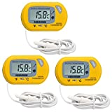 Dovewill 3-Pack LCD Digital Fish Tank Underwater Breeding Thermometer Submerge Meter Battery Operation