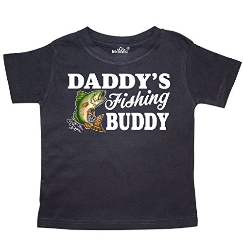 (inktastic Daddy's Fishing Buddy with White Text Toddler T-Shirt 5/6 Black)