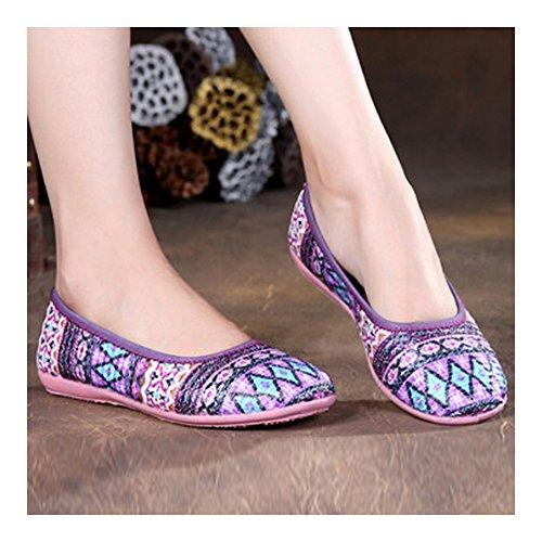 Elegantes y Bonitos bordados geométrica impresión zapatos violeta de 84OO5Aqx