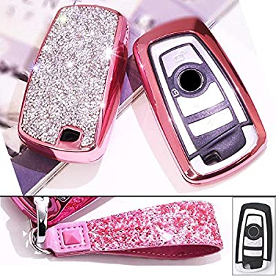 Royalfox(TM) Luxury 3 4 Buttons 3D Bling Smart keyless Entry Remote Blade Key Fob case Cover for BMW 1 2 3 4 5 6 7 M Series,BMW X1 X3 X4 M2 M3 M4 M5 M6,with Keychain (Pink) [5Bkhe2009287]