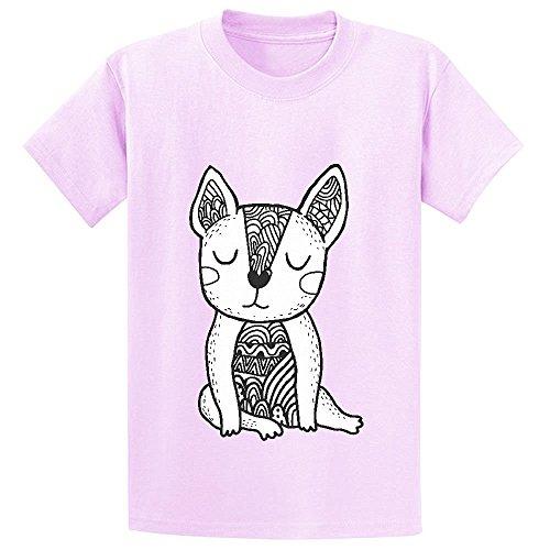 Snowl Doodle French Bulldog Child Crew Neck Customized T Shirts Pink