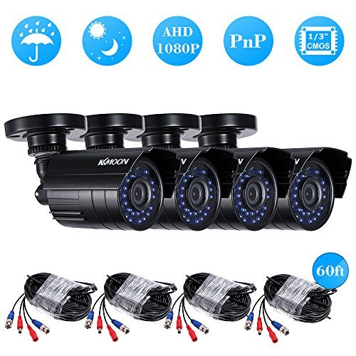 KKmoon 41080P 2000TVL AHD Waterproof IR CCTV Camera + 460ft Surveillance Cable Support IR-CUT Night Vision 30pcs Infrared Lamps 1/3'' CMOS for Home Security