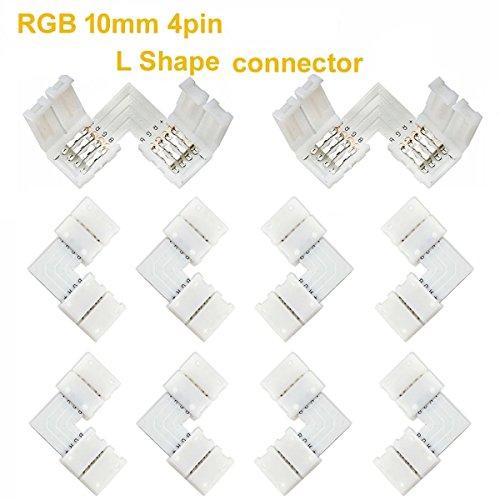 FSJEE 10mm 5050 RGB LED Strip Light Connectors Kits with 10PCS L Shape 4 Pin Right Angle Corner Solderless Connector and 10PCS Solderless Wire 4 Pin 10mm Wide Strip to Strip Jumper by FSJEE (Image #2)