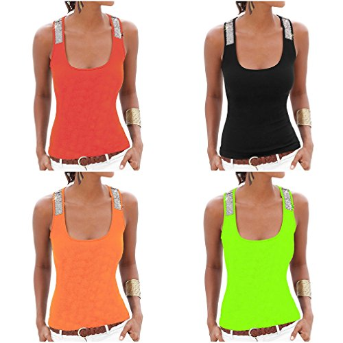 COMVIP - Camiseta - Básico - Sin mangas - para mujer Rosso