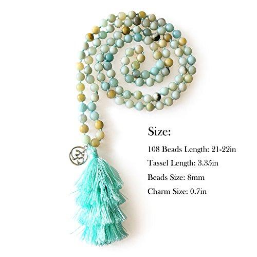 MHZ JEWELS Amazonite 108 Mala Beads Layered Tassel Necklace Bracelet Yoga Prayer Spirit Long Necklace for Women by MHZ JEWELS (Image #2)