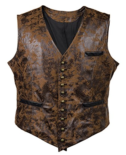 Bslingerie Mens Steampunk Faux Leather Gothic Waist Cincher Corset Vest (XXL, Brown)