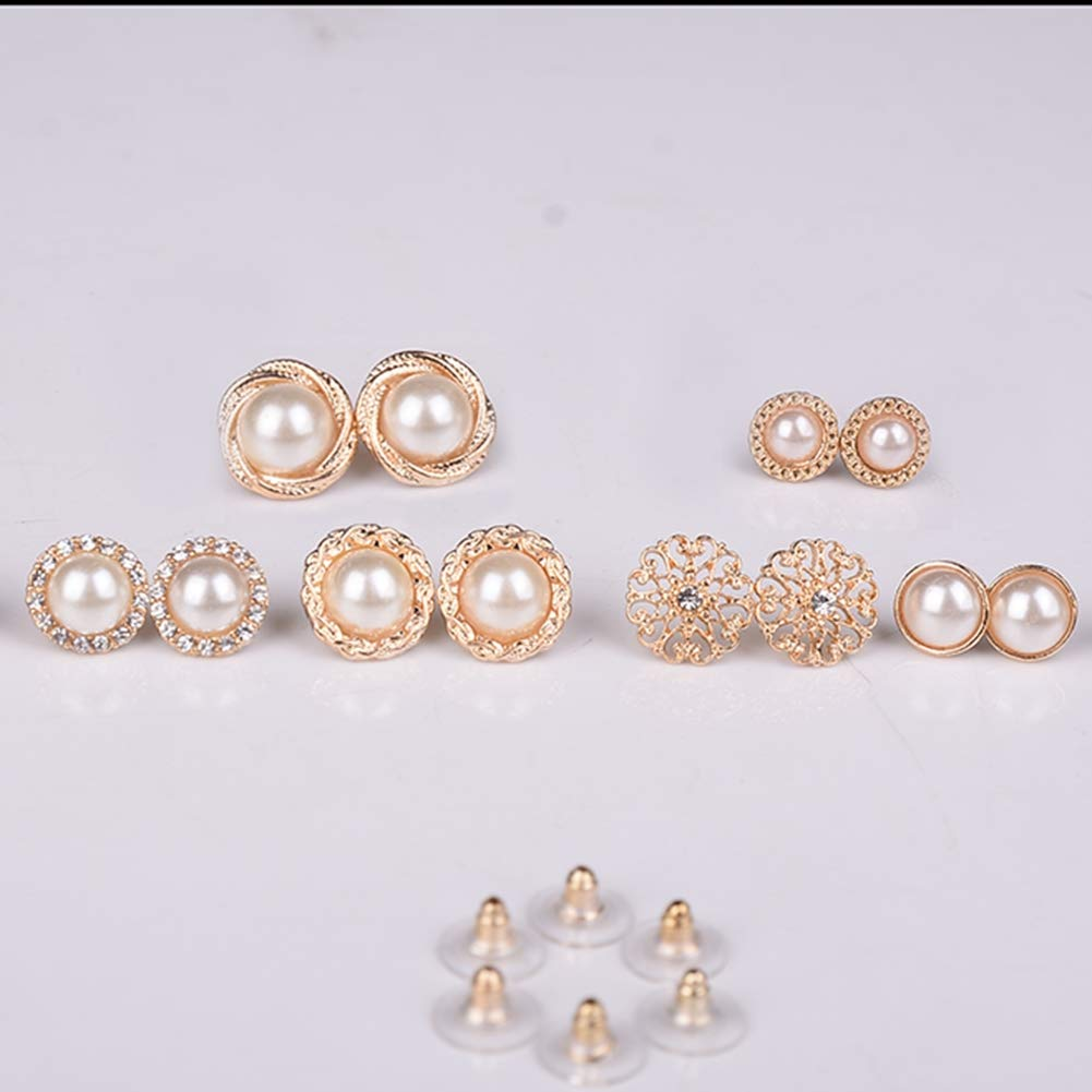 Pinksee 6 Pairs Assorted Styles Stud Earrings Set Round Beads Earring For Women Girls