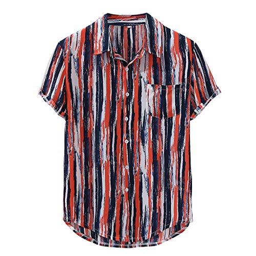AOJIAN Mens Striped Printed Loose Top Short Sleeve Causal Breathable Turn Down Collar Shirt(Red,XXXL)