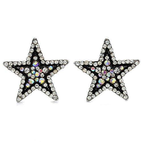 Sparkling Black White Star Stud Post Earrings Clear Rhinestones Fashion Jewelry