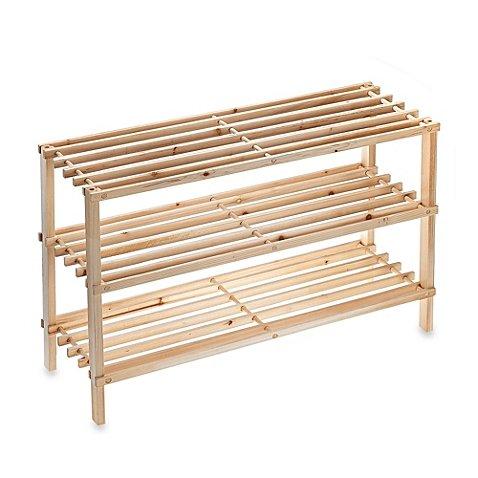 SALT™ 3-Tier Stackable Wood Shoe Rack by Salt 424