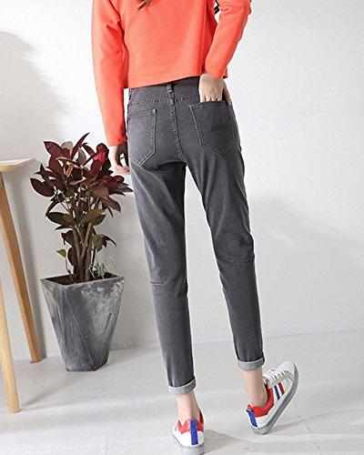 Denim Haute Pantalon Skinny Taille Pantalons Crayon Gris Collants ZongSenA Femme Jeans ST8qRP4P