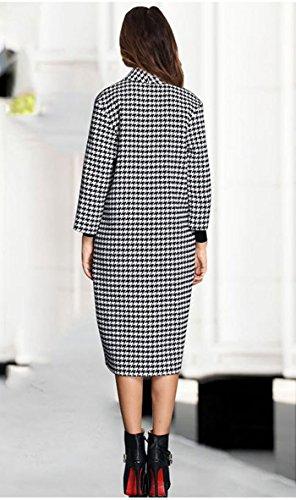 Long Longue Mélangée Tranchée Laine Polo Bouton Treillis Simple Manteau Mode Femmes En Blansdi Manches Un Casual Col w6qZFvIcA