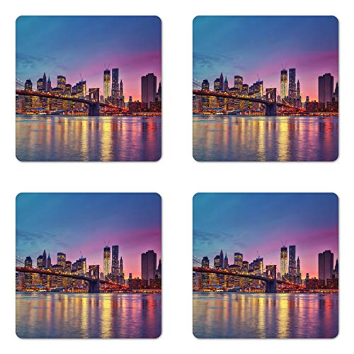 Ambesonne NYC Coaster Set of 4, Manhattan New York City Fascinating View of Skyscrapers with Theme Vivid Dusk Photo, Square Hardboard Gloss Coasters for Drinks, Multicolor ()
