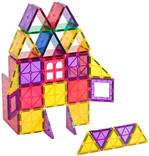 Playmags 158 153 Bausatz mit 60 magnetischen Bausteinen in leuchtenden Farben, mit Magnetauto langlebig und mit…