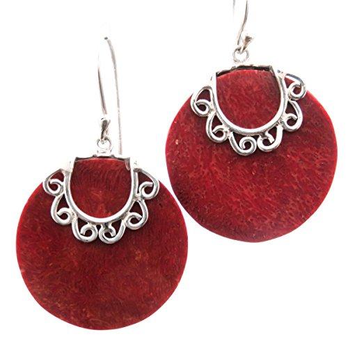 Red Sponge Coral Disc 925 Sterling Silver Earrings, ()