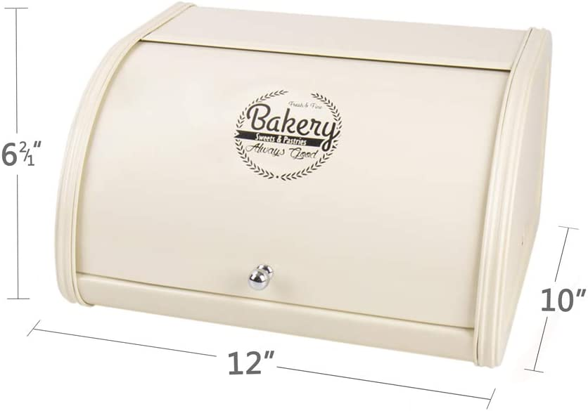 Home by Jackie Inc X458 Metal Bread Box/Bin/Kitchen Storage Containers with Roll Top Lid (Cream White)
