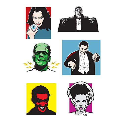 (Tattify Halloween Collection Temporary Tattoos - Horrorwood (Set of 2 Sheets) - Colorful Classic Horror Movie Removable Fake Tattoos - Long Lasting and)