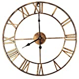 BapUp 3D Iron Retro Decorative Wall Clock Big Art Gear Roman Numerals Wall Clocks Design The Clock On The Wall 18.5 Inch Oversized