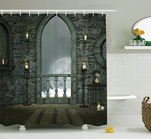 Ambesonne Gothic Decor Collection, Full Moon Birds Fairytale Fantasy Old Castle Balcony Candle and Night View, Polyester Fabric Bathroom Shower Curtain Set with Hooks, 75 Inches Long, Grey Ivory Cream