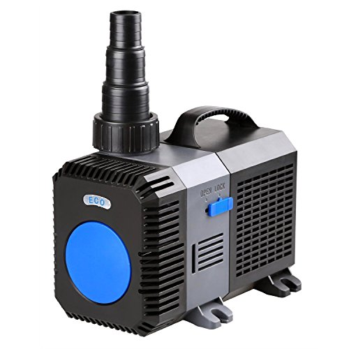 TRUPOW 3170GPH Flow Frequency Electric Inline Garden Submersible Pond Filter Pump for Fish Tank Fountain Aquarium Waterfall Koi Salt Fresh Water ()