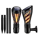 Solar Torch Light, LITOM 135 LED Solar Powered Spotlights with Dancing Flame, Waterproof Outdoor Flickering Wall Lights/Landscape Lights for Path, Patio, Beach, Wedding Decoration, Warm White-2 Pack