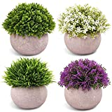 CEWOR 4 Packs Artificial Plastic Mini Potted Plants Topiary Shrubs Fake Plants for Room Office Decoration