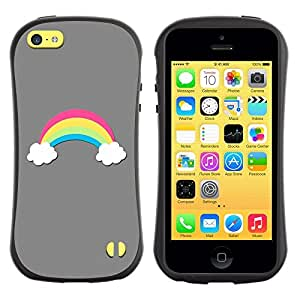 "Hypernova Slim Fit Dual Barniz Protector Caso Case Funda Para Apple iPhone 5C [Nubes Pretty Minimalista Gris""]"