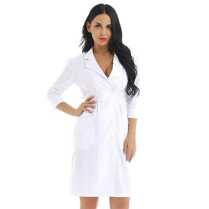 CHICTRY Vestido Traje de Médicos Enfermeras Mujeres Uniforme ...