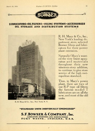 1924 Ad S F Bowser Lubricators Oil Filters Macy's Store - Original Print - In Macys Indiana