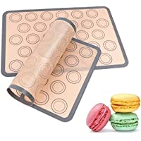 Macaron Silicone Baking Mat Non-Stick Silicon Macaroon Baking Half Sheet BPA Free Perfect Baking Pad Cookie Kit for for Macarons,Cake,Bread and Pastry Making Set of 2