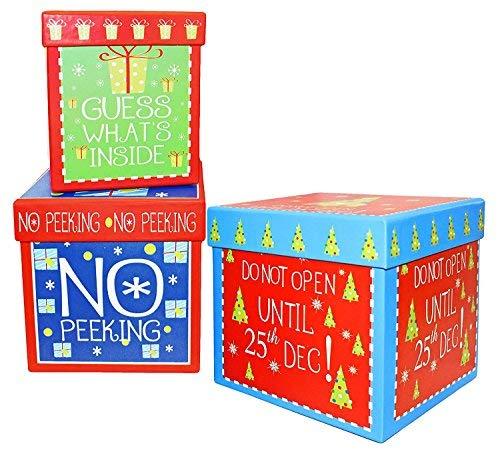 Alef Elegant Decorative Holiday Themed Nesting Gift Boxes 5.5