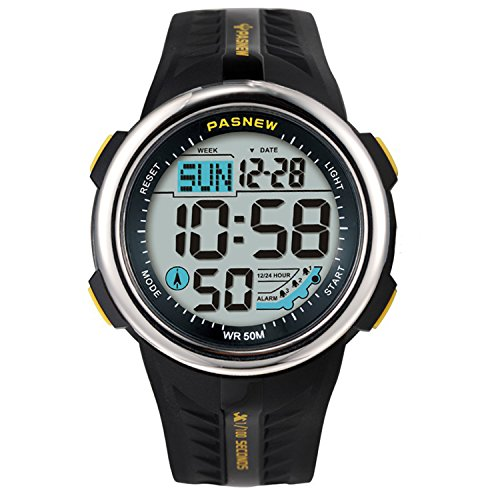 Teenagers Sport Watch | Multifunctional Wrist Clock | Digital Display | 5ATM Waterproof| EL Backlight | Stopwatch | Chronograph | 3 Alarms | Chime | PU Strap for Boys Girls (Yellow)