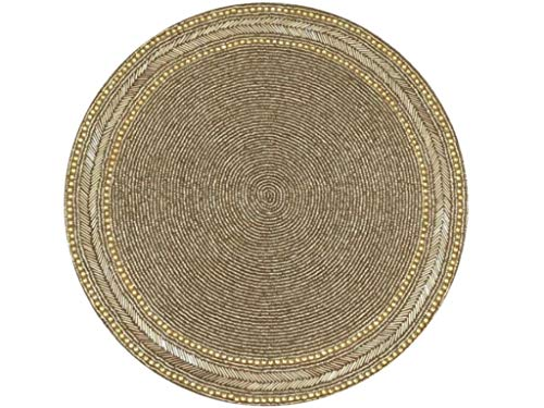 Gold Beaded Charger Centerpiece Table Mat - Seasonal Christmas Entertaining, Holiday Party, Wedding or Celebration Events